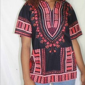 Tops - Black and red Dashikir top